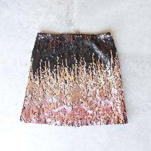 MINKPINK Moon Dust Sequin Black Ombre Skirt